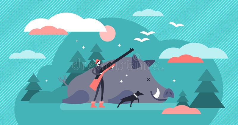Hunting vector illustration. Flat tiny animal shooting gun persons concept. Wildlife predator killing sport. Dangerous outdoor adventure with pursuit dog and vector illustration
