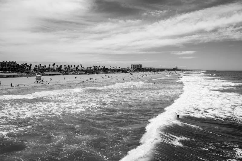 Huntington Beach Califórnia preto e branco imagem de stock royalty free
