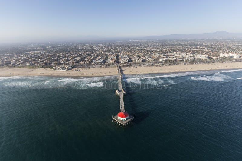 Huntington Beach Pier Aerial em Califórnia do sul fotos de stock royalty free
