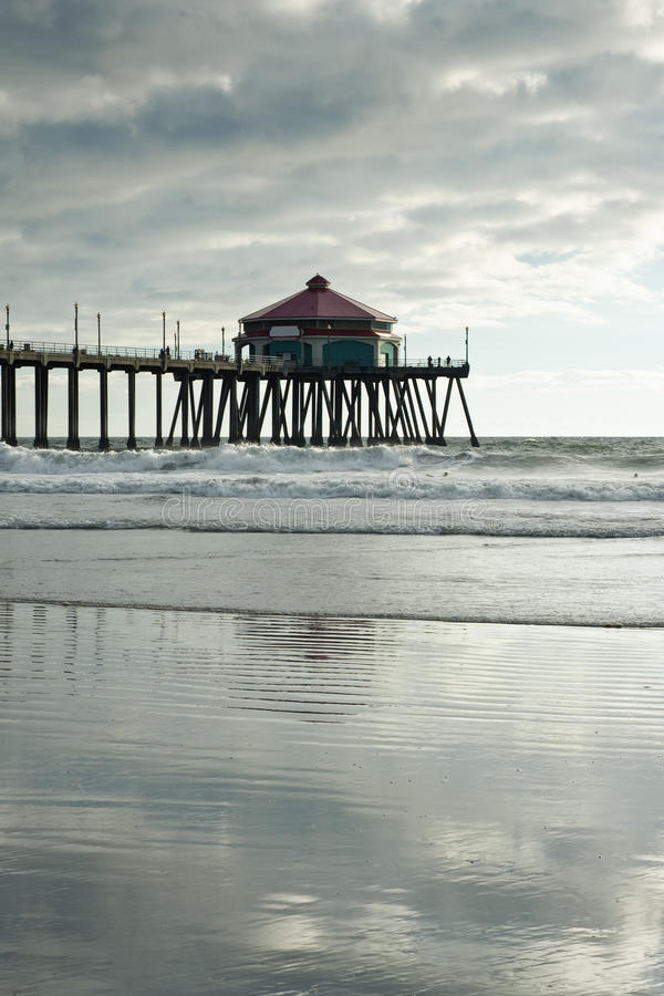Huntington beach pier afternoon reflections royalty free for Huntington beach pier fishing