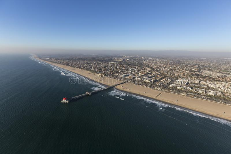 Huntington Beach Pier Pacific Coast Aerial fotografia de stock