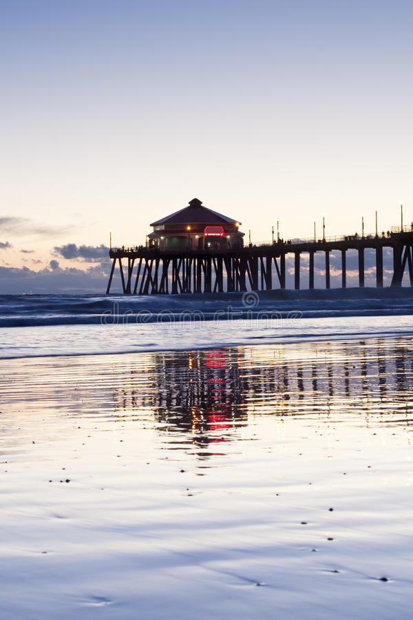 Download Huntington Beach Pier Reflections Stock Image - Image of pink, ocean: 16915933
