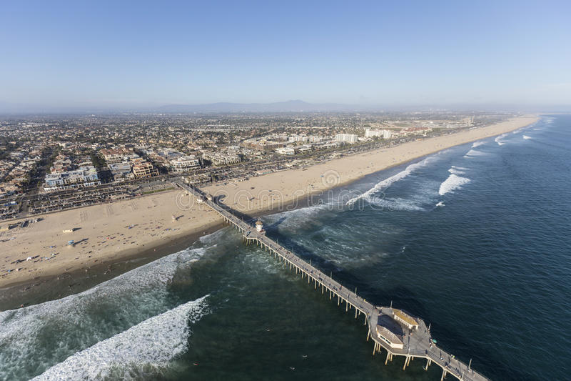 Huntington Beach Pier Southern California Aerial imagem de stock