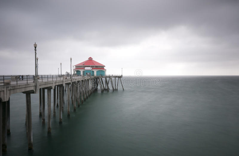 Huntington Beach Pier Sunburst Stock Image - Image of fall