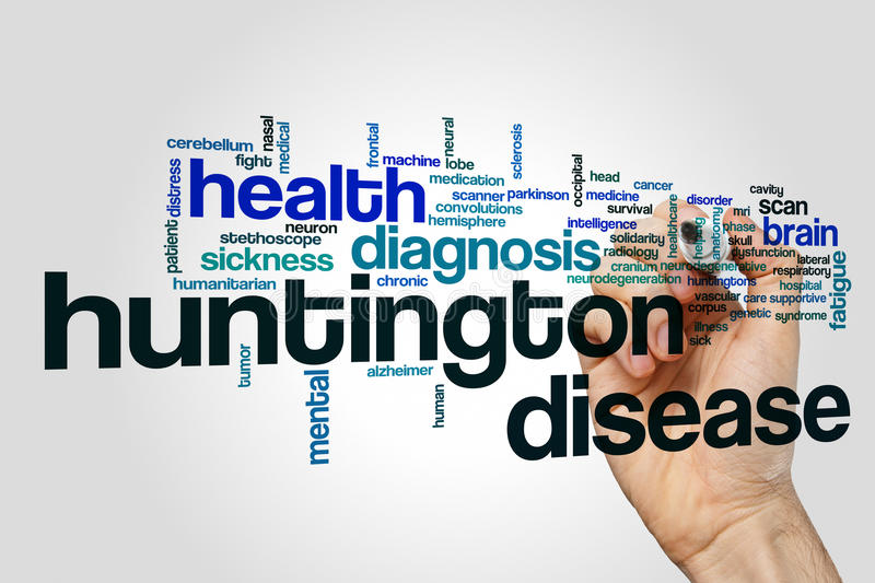 Huntington disease word cloud concept stock image