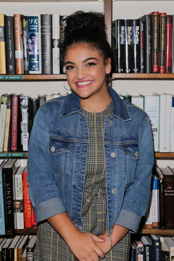 Laurie Hernandez. HUNTINGTON, NY - OCT 11: Olympian Laurie Hernandez signs copies of her book `She`s Got This` at Book Revue on October 11, 2018 in Huntington royalty free stock image