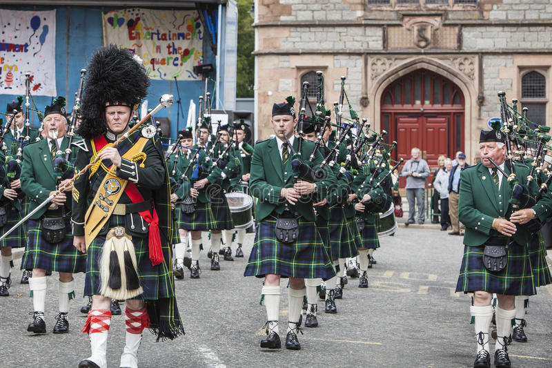 Huntlypijp het marcheren band royalty-vrije stock afbeelding