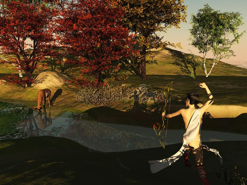 Huntress and deer. Render representing the classical hunter goddess, called Artemis by the Greeks and Diana by the Romans, hunting a deer at the rivers edge vector illustration