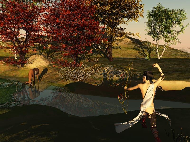 Huntress y ciervos ilustración del vector