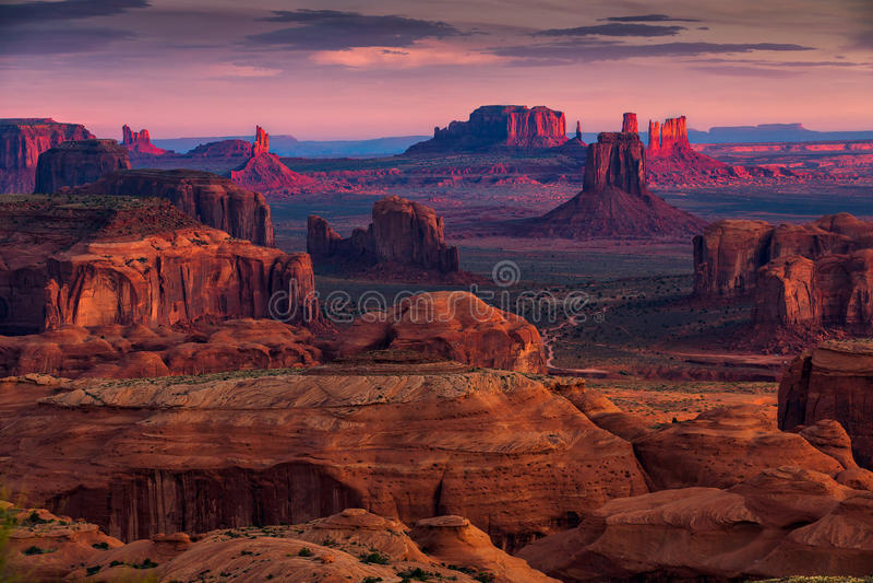 Hunts Mesa navajo tribal majesty place near Monument Valley, Arizona, USA. Sunrise in Hunts Mesa navajo tribal majesty place near Monument Valley, Arizona, USA stock images