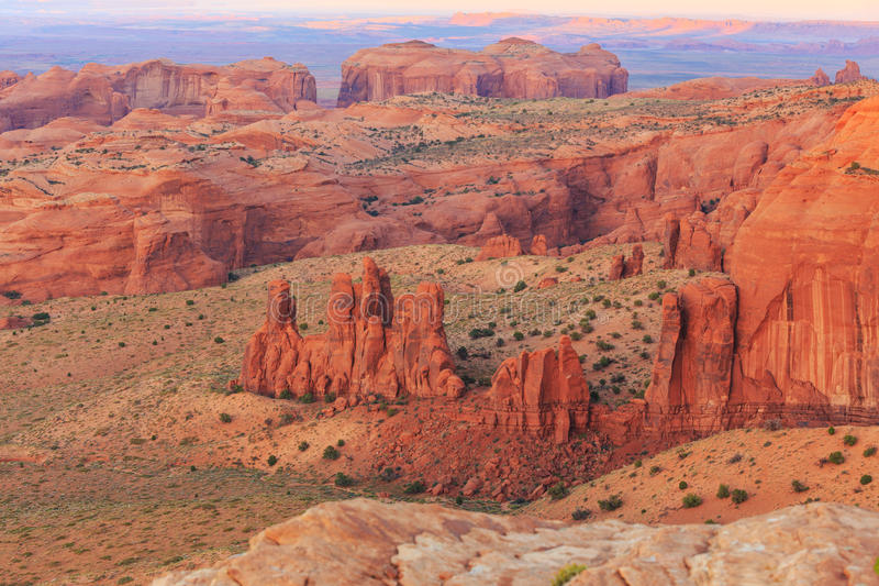 Hunts Mesa. Is a rock formation located in Monument Valley, south of the border between Utah and Arizona in the United States stock photo