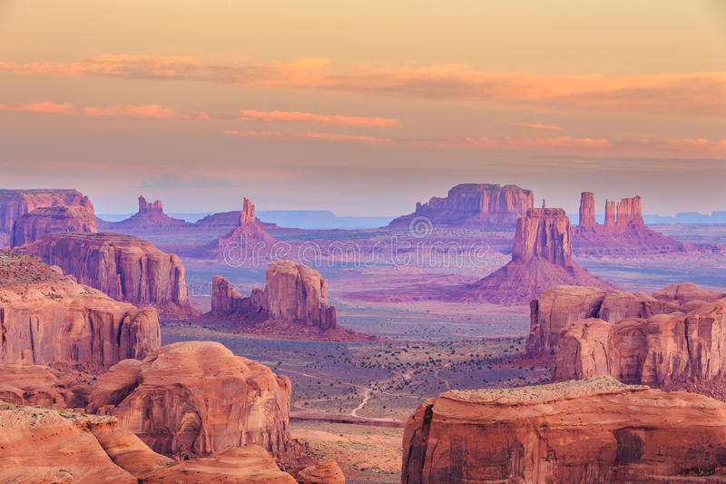 Hunts Mesa. Is a rock formation located in Monument Valley, south of the border between Utah and Arizona in the United States royalty free stock image