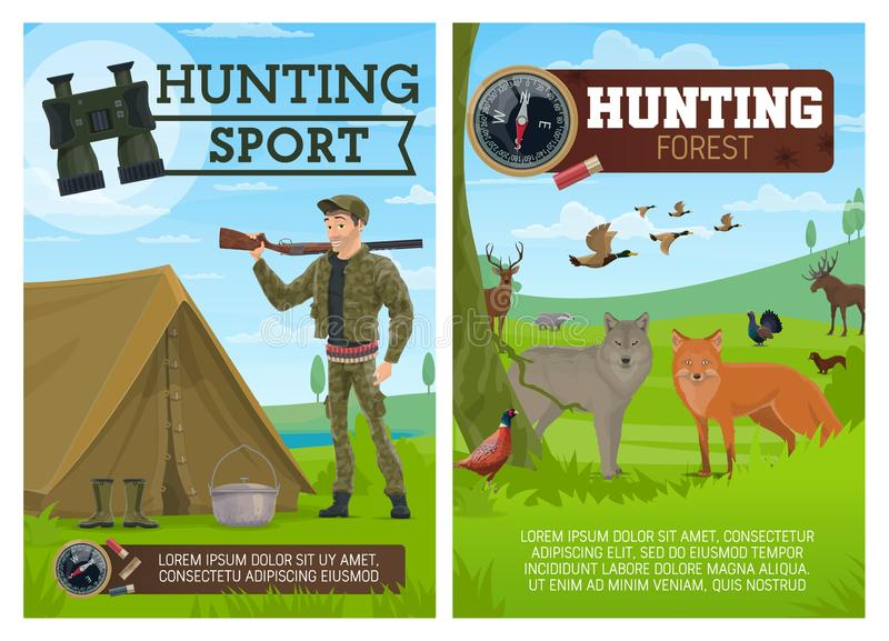 Hunting sport poster, hunter and animals royalty free illustration