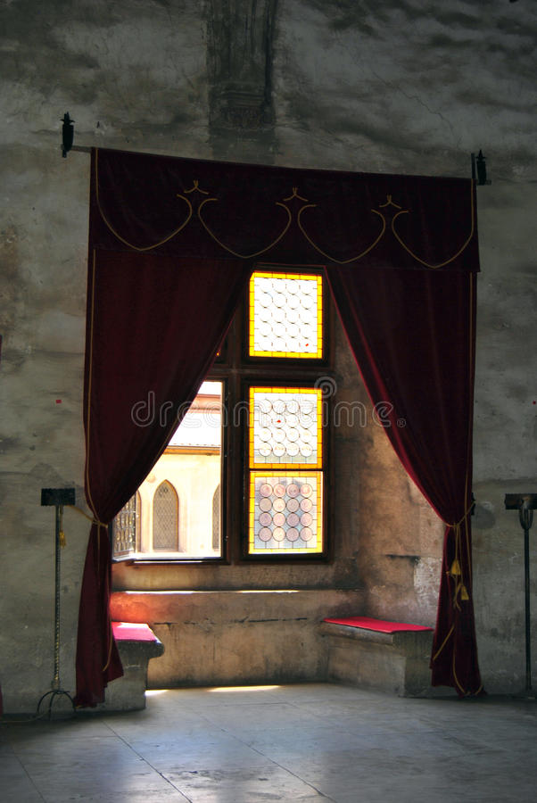 Hunyadi Castle - medieval window. Medieval window in Hunyadi Castle, Romania. Hunyadi Castle is one of the most beautiful castles in the world. Built in a royalty free stock photo