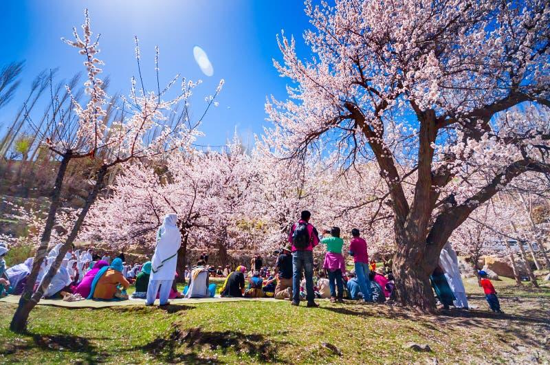 Hunza谷美好的风景在秋天季节的 免版税图库摄影