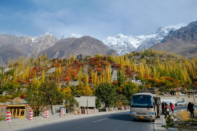 Colorful foliage forest trees against snow capped mountain peaks in Karakoram range stock photo