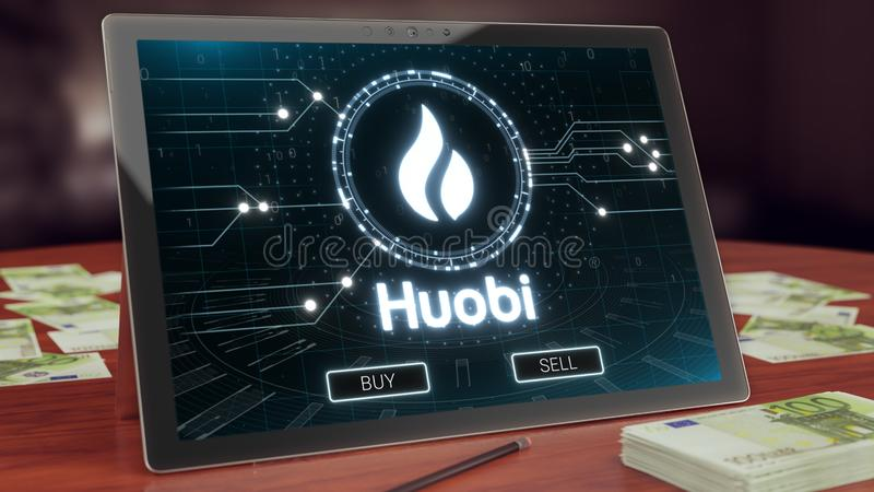 Huobi cryptocurrency logo on the pc tablet display. Neon bright blockchain symbol. 3D illustration stock illustration