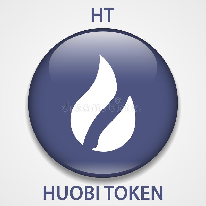 Huobi Token Coin cryptocurrency blockchain icon. Virtual electronic, internet money or cryptocoin symbol, logo.  royalty free illustration