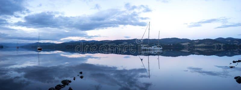 Huon River Tasmania Panorama fotografía de archivo