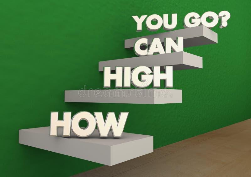 Hur höjdpunkten kan dig gå, uppnår momenttrappan framgång vektor illustrationer
