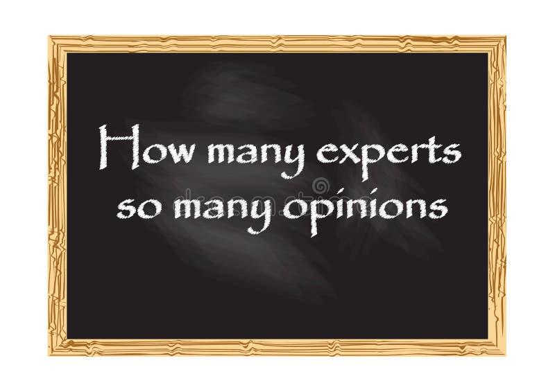 Hur många experter för svart tavlarekord för så många åsikter illustration för vektor royaltyfri illustrationer