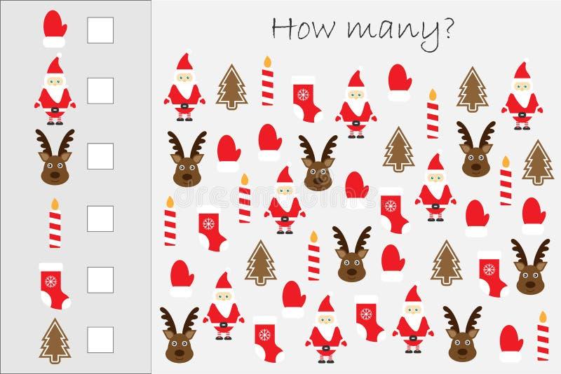 Hur många räknande lek med julbilder för ungar, bildande matematikuppgift för utvecklingen av logiskt tänka, förträning vektor illustrationer