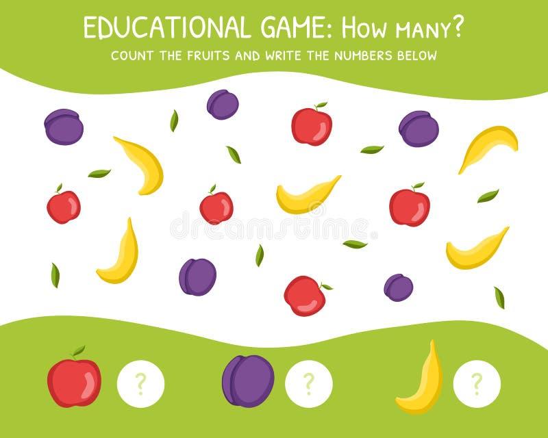Hur många utbildningsleken för förskole- barn, utveckling av matematiska kapaciteter, räknar frukterna och skriver stock illustrationer