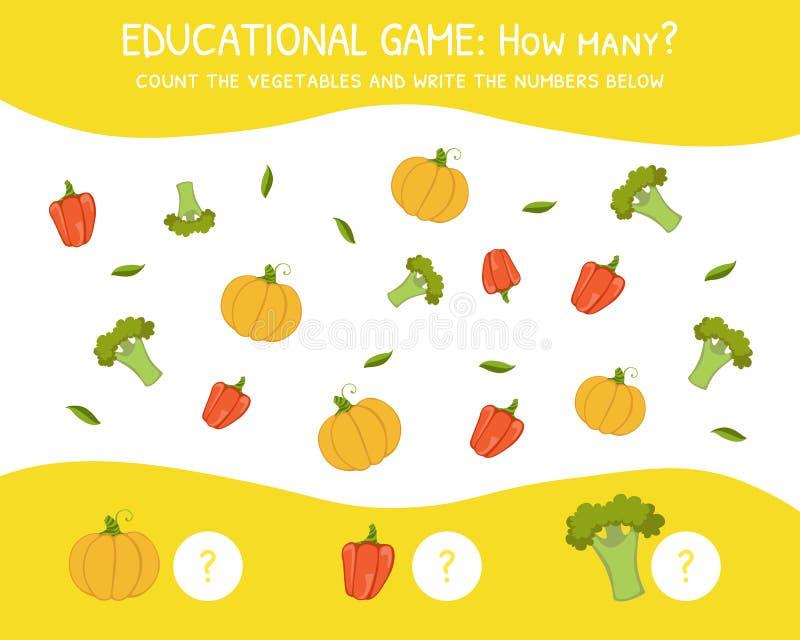 Hur många utbildningsleken för förskole- barn, utveckling av matematiska kapaciteter, räknar grönsakerna och skriver royaltyfri illustrationer