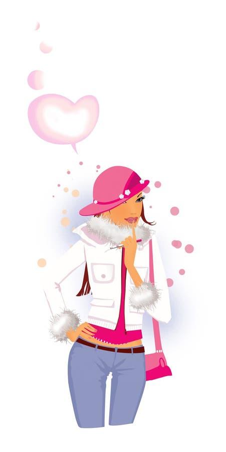 Hur man anmäler en havandeskap En flicka i en rosa hatt trycker på hennes pekfinger till hennes kanter I flickans hand positiva t royaltyfri illustrationer