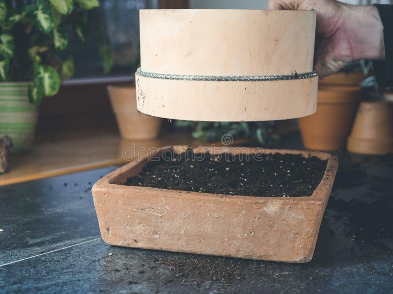 Hur man använder en trädgårds- sikt för att kärna ur jord över kärna ur asken royaltyfri fotografi