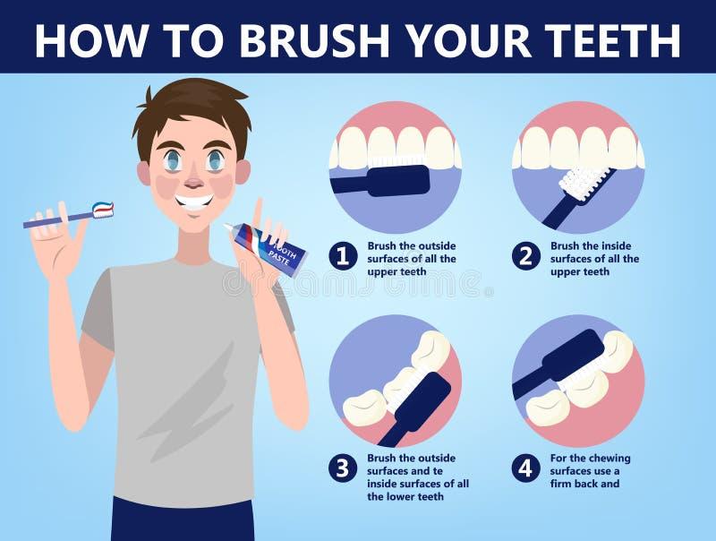 Hur man borstar din steg-för-steg anvisning för tänder vektor illustrationer