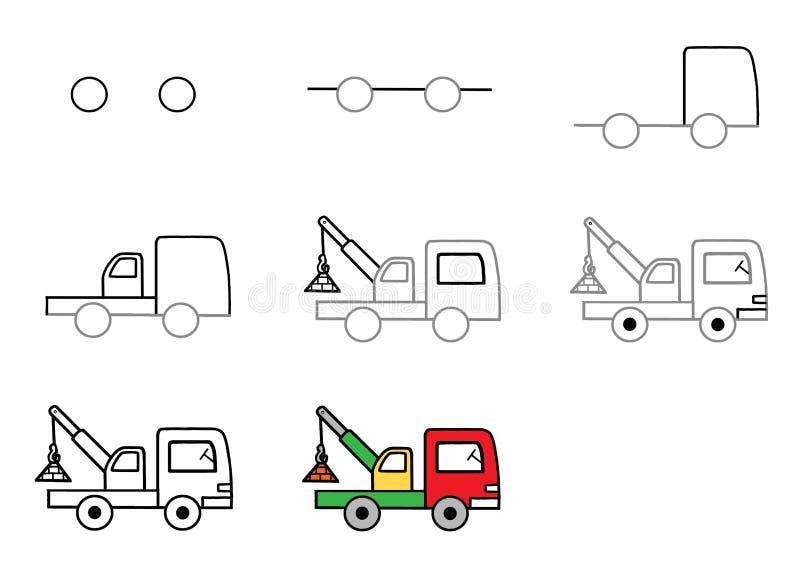 Hur man drar en bil Steg-för-steg anvisning Klapp Färga färg royaltyfri illustrationer