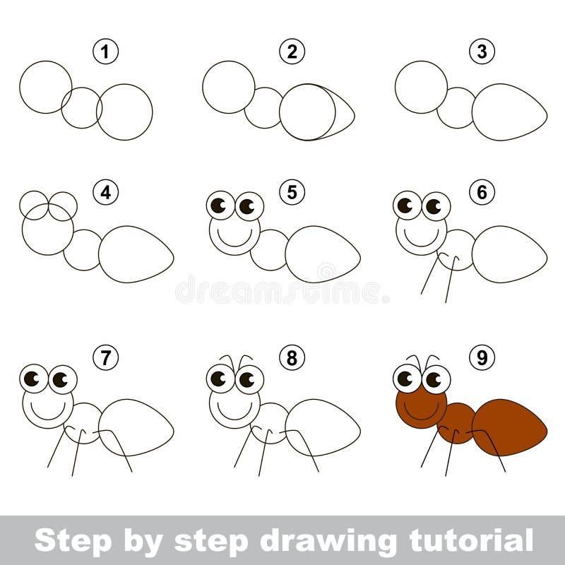 Hur man drar en myra royaltyfri illustrationer