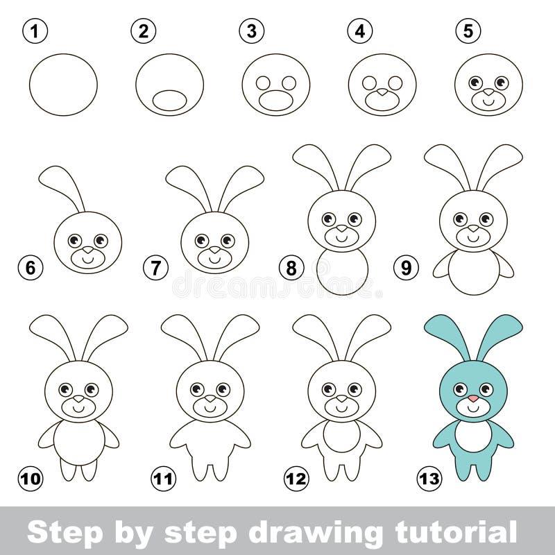Hur man drar en rolig kanin royaltyfri illustrationer