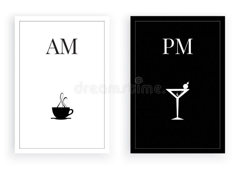 Hur man vet vilken tid är det, f.m.-tetid, tid för e.m. martini, martini vänner, svartvit minimalist affischdesignvektor vektor illustrationer