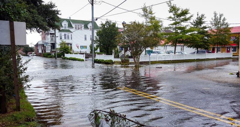 Huracán Hermine Flood Waters Manteo North Carolina imagenes de archivo