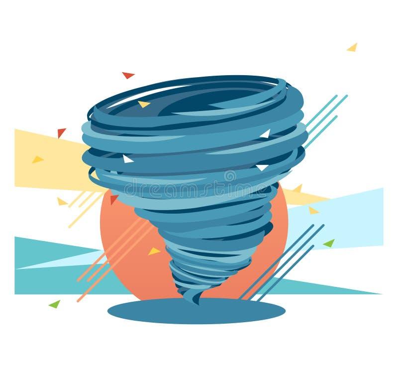 Huracán loco del remolino, ejemplo plano del color azul que muestra concepto de la fuerza stock de ilustración