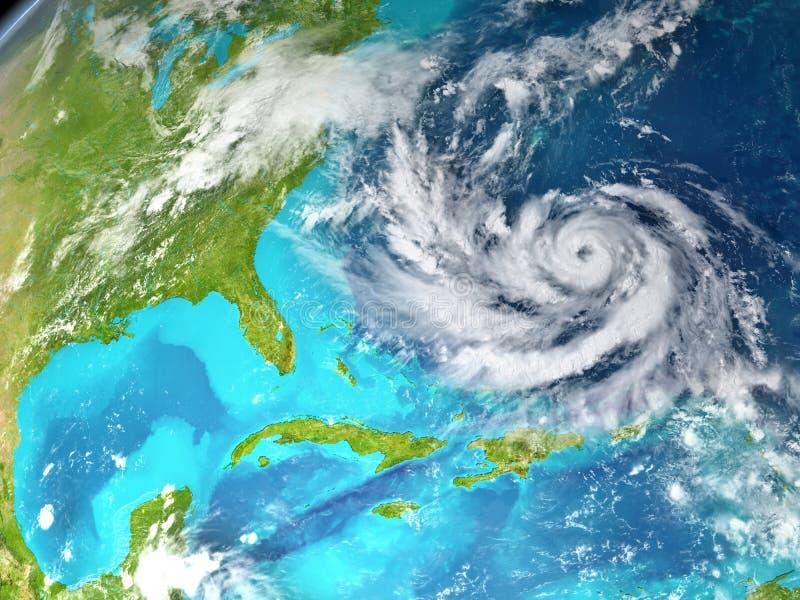 Huragan w Atlantyk od przestrzeni ilustracji