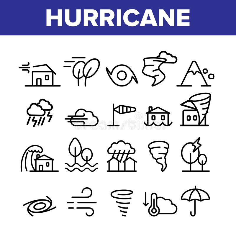 Huraganowej katastrofy naturalnej Wektorowe Liniowe ikony Ustawiać royalty ilustracja