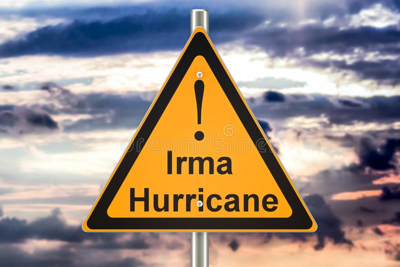 Huraganowy Irma drogowego znaka pojęcie, 3D rendering royalty ilustracja