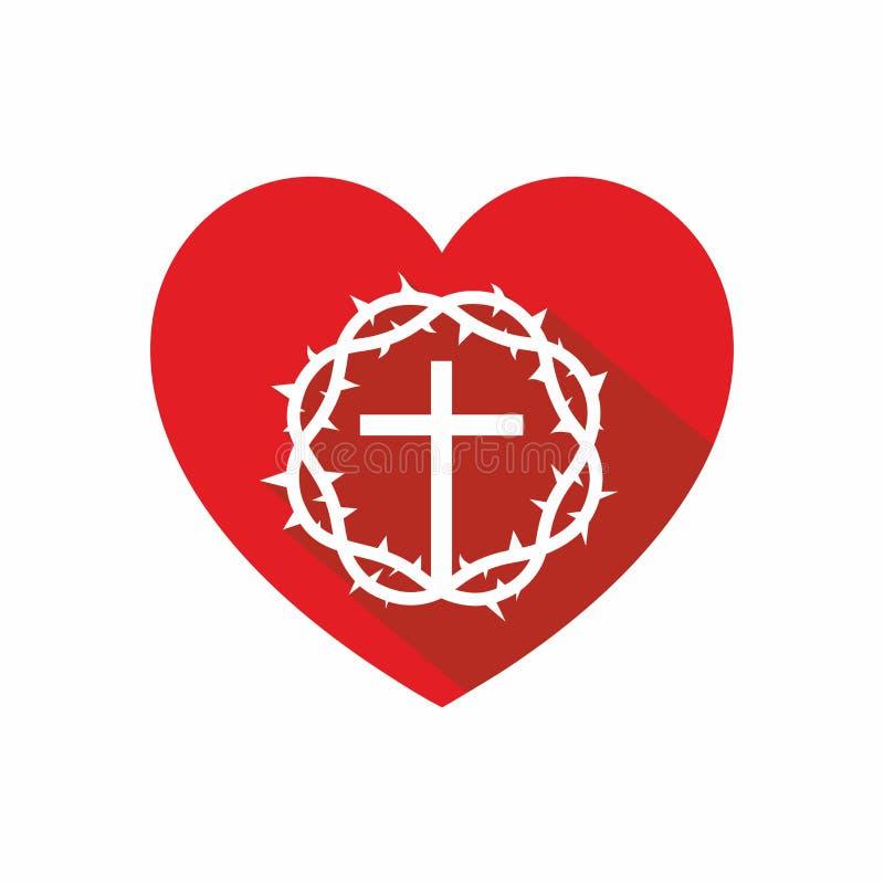 Hurch-Logo Kreuz von Jesus, von Herzen und von Dornenkrone vektor abbildung