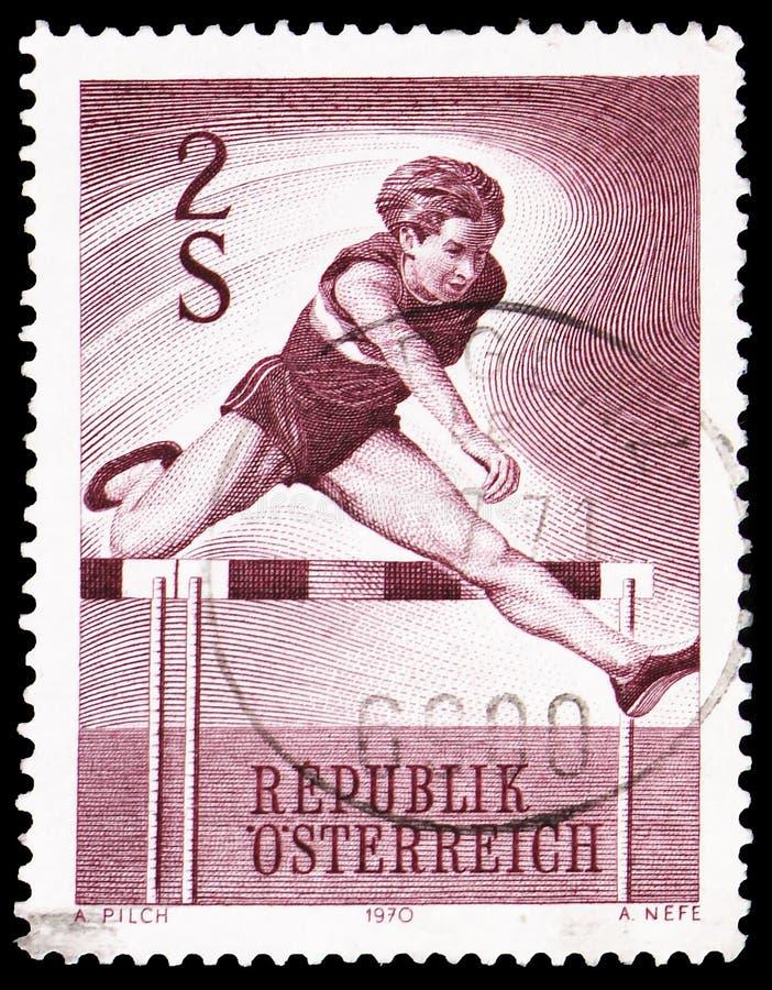Hurdler, serie спорта, около 1970 стоковые фотографии rf