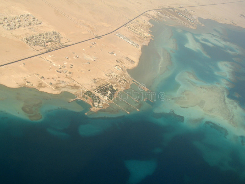 Hurgada's Hotels from airplane flight stock images