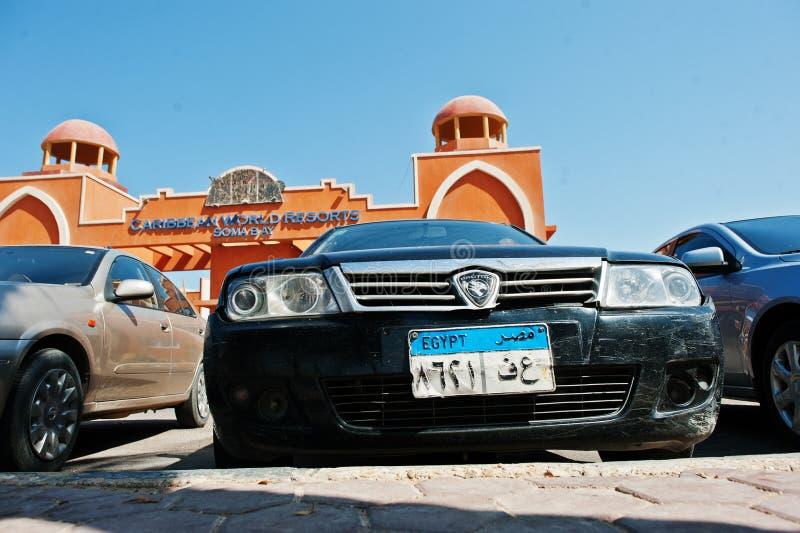 Hurghada, Egipt -20 2016 Sierpień: Protonowy samochód z Egipt licencja p obrazy royalty free