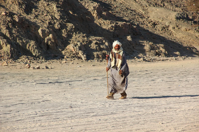 HURGHADA, EGYPT - Apr 24 2015: The old Bedouin with a stick walking through the desert on the background sand and mountains, Egypt royalty free stock photo