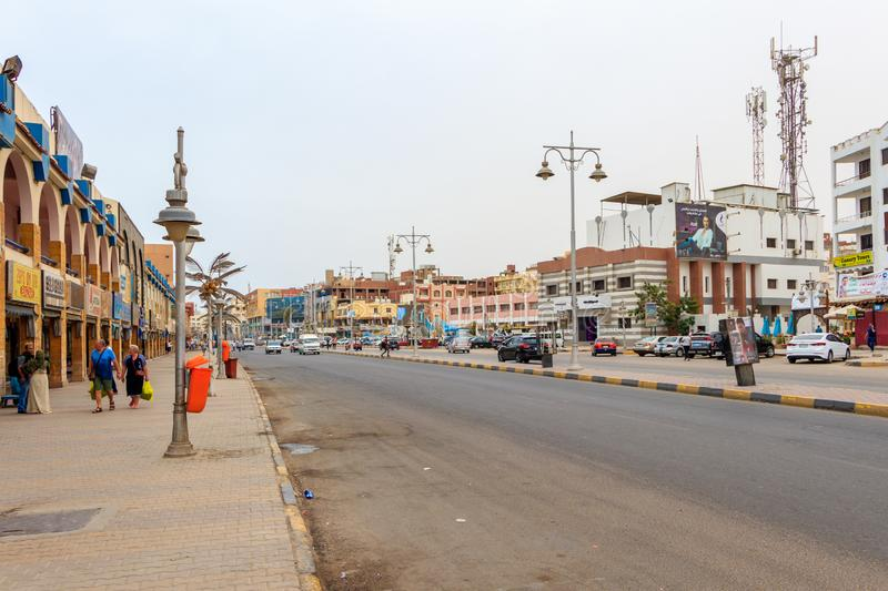 Hurghada, Egypt - April 15, 2019: Main street with shops and tourists in Hurghada, Egypt royalty free stock photography