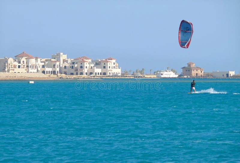 HURGHADA, EGYPT - NOVEMBER 13, 2008: Unfamiliar Sky surfer on th stock photos