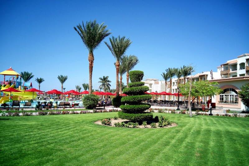 Hurghada, Egypte - Augustus 15, 2015: Het luxueuze vijfsterrenhotel Dana Beach Resort in Hurghada is één van Pickalbatros Is popu stock afbeeldingen