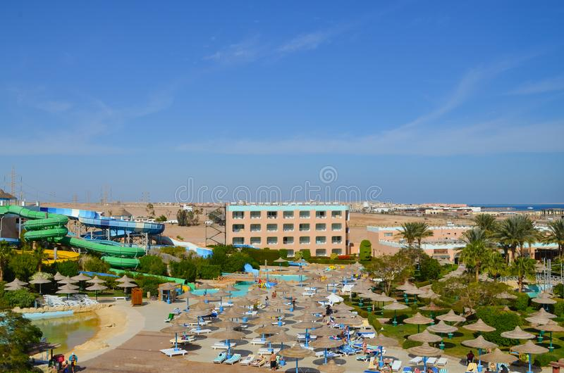 Hurghada Egypte - 11 November, 2014: Egyptisch Hotel in Hurghada stock foto's