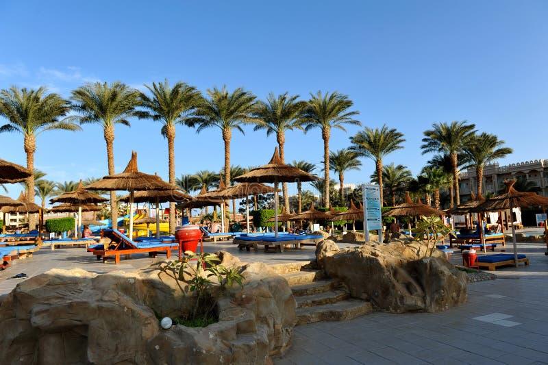 HURGHADA, EGYPTE - OKTOBER 14, 2013: De niet geïdentificeerde mensen zwemmen en zonnebaden in het zwembad bij een luxe tropische  stock foto's